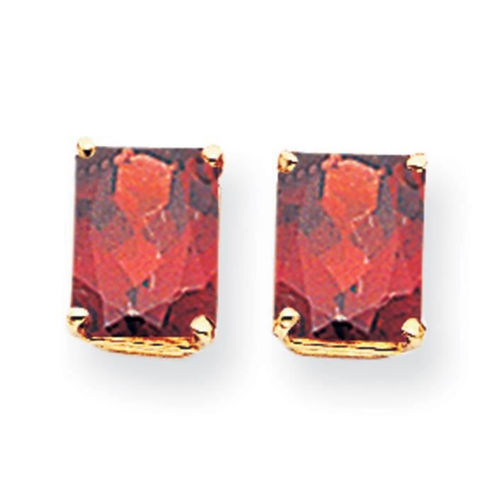 9 carats 14 x 7 mm émeraude coupe-Boucles doreilles Grenat
