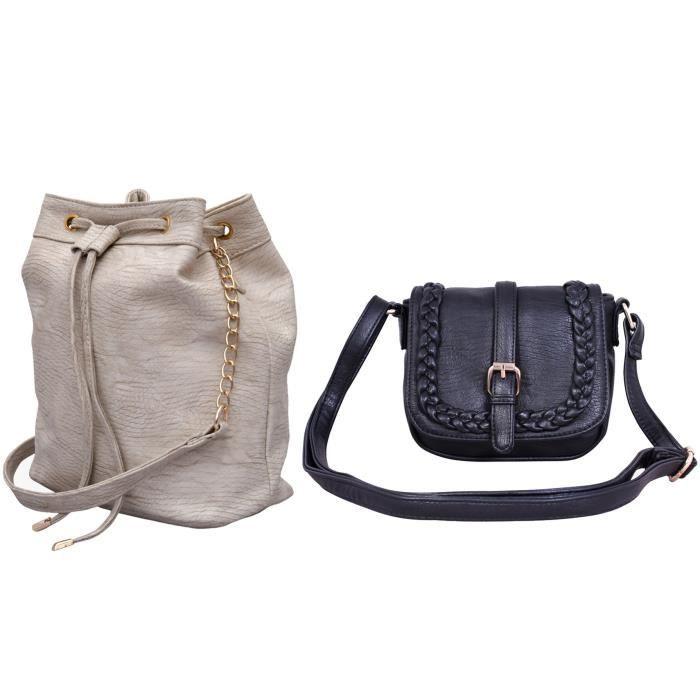 Femmes Filles Paquet de 2 Pu crème et noir Sling Sling Bag (cmb2_lbhbpu42cr_lbhbpu52blk) J83H2