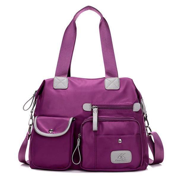 SBBKO2367Les femmes en nylon léger multi-poches gros sacs à main de capacité Crossbody Violet