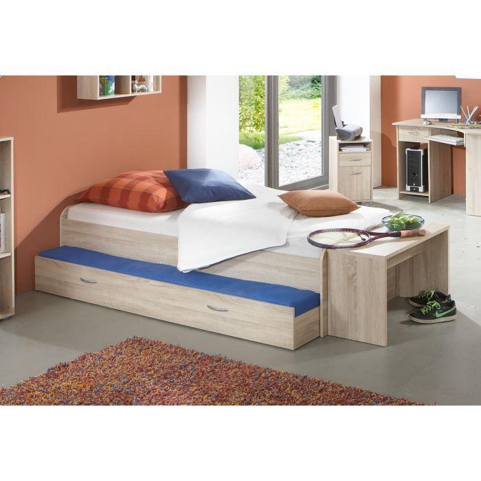 pedro lit enfant gigogne contemporain m lamin d cor ch ne mat l 90 x l 200 cm achat vente. Black Bedroom Furniture Sets. Home Design Ideas