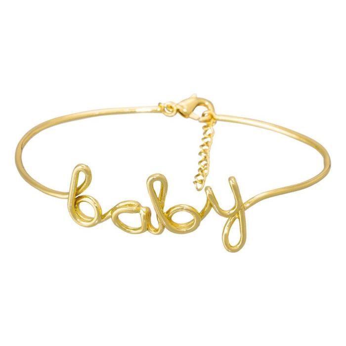 BRACELET - GOURMETTE Mes-bijoux.fr Bracelet à Message Laiton doré Baby