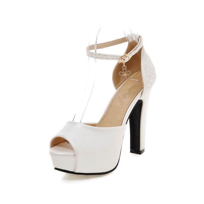 bf981a53a4841 Femmes Sandales Ete Sangle Cheville talon bloc ... Blanc - Achat ...