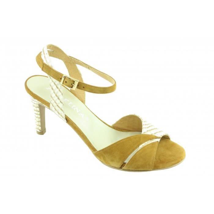 Jovana - Chaussures femme sandales talon fin haut marques Angelina daim beige fauve cuir bronze petites pointures
