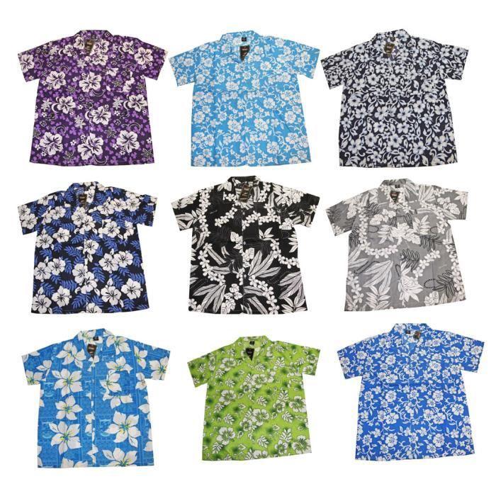 lot de 2 chemises homme hawaïen fashion fleurs coupe droite taille m