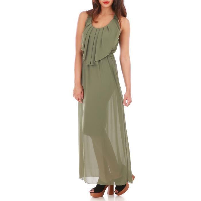9b4a1bd7ab82b La Modeuse - Robe longue en voile doublée sans manchesPrésence d un volant  sur le devant de la robe