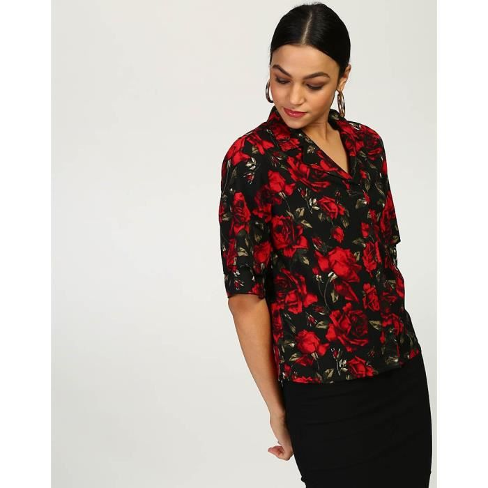 Trendtwo Prairie Floral Femmes de Bell manches florale de Bell manches Georgette Shirt Casual YCVOA Taille-44