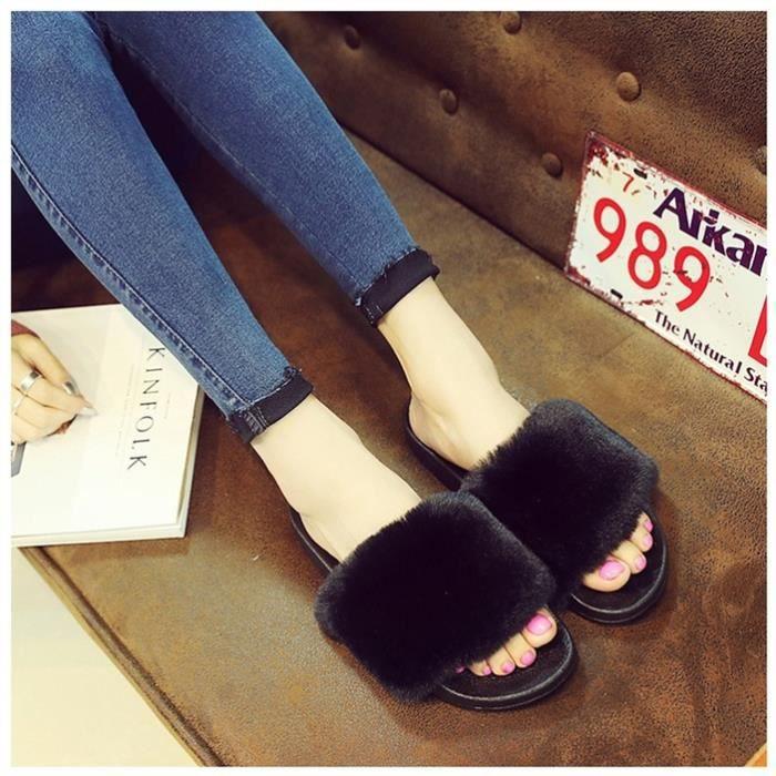 Vbiger plat Chaussons Slip tendance douce sur Sandales plates pour les femmes, noir