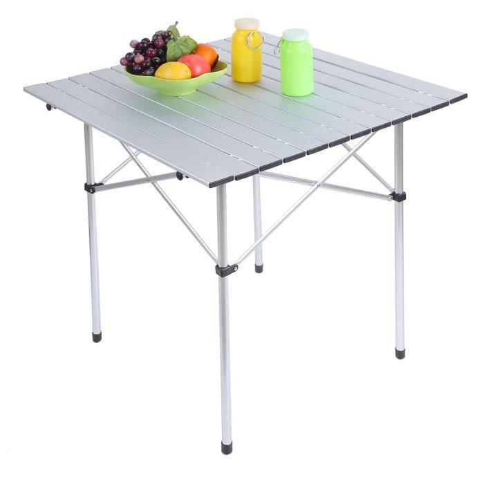 70 x 70 x 70 cm Table de camping portable en aluminium léger ...