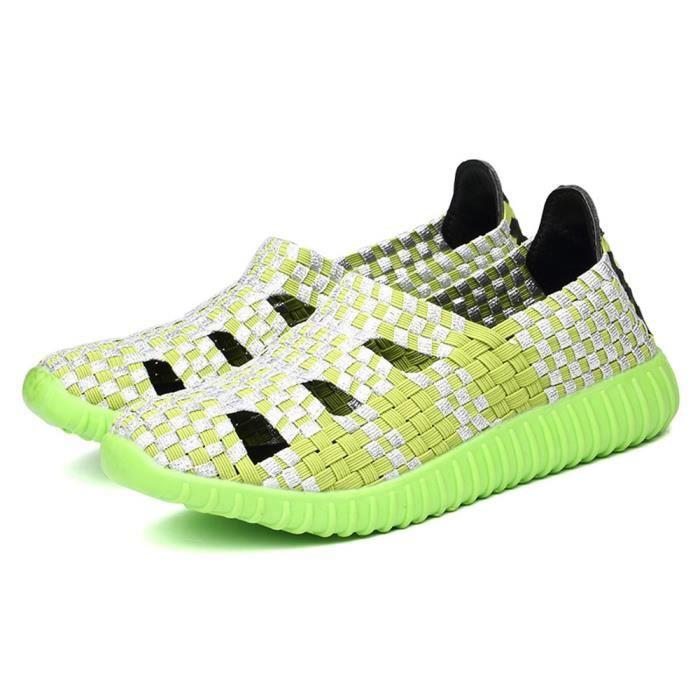 Femmes Casual Woven Slip Running Vert Fashion Non Shoes Flats PndSIwxqO
