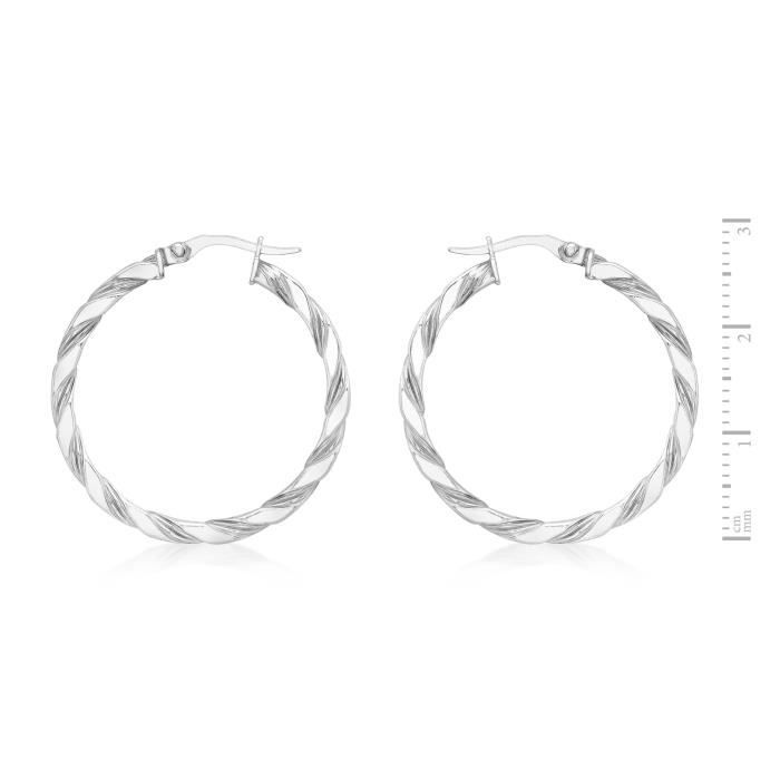 Carissima 9 Ct Or Blanc 30 Mm Twist Creole Earrings G1X4S fYgPY1