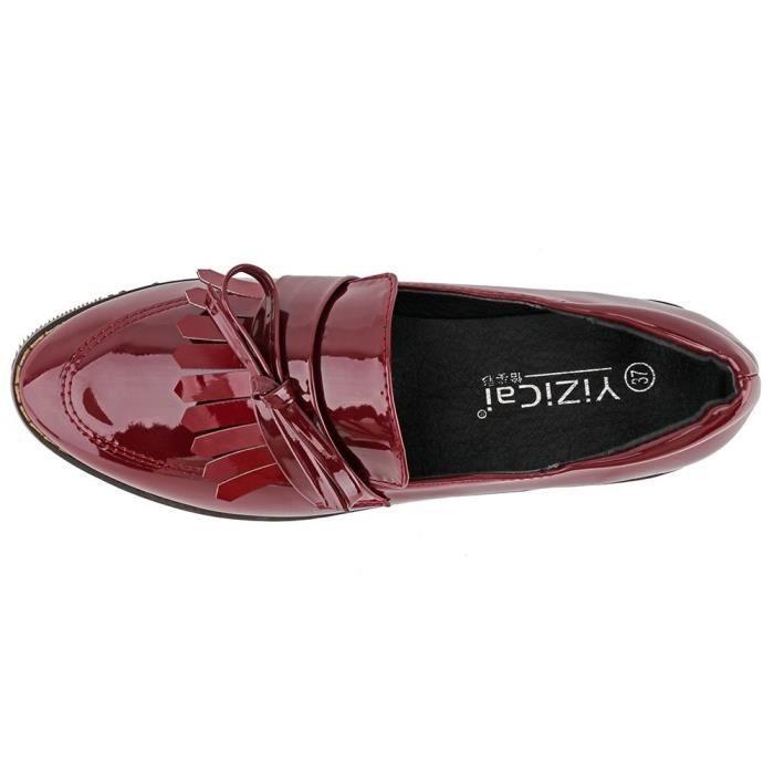 Femmes Slip en cuir à plat Oxfords Chaussures Fringe Chaussures à talons bas de Mocassins RONK2 Taille-37 D2su0E