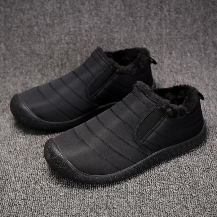 L'usure Neige À Coton Résistant D'hiver Hle80913391bk47 Noir En Bottes Chaussures Courte D'homme Peluche FqwSIn