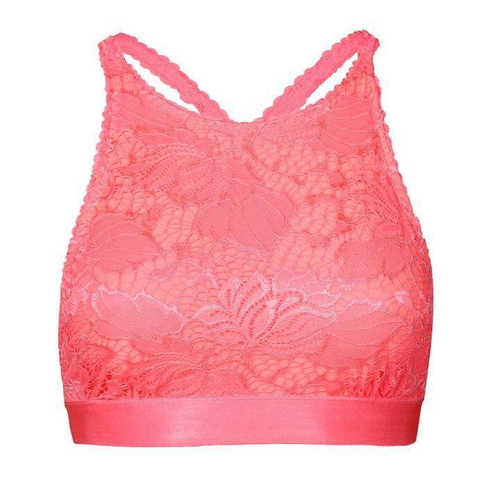 Sous Rose Respirant Dentelle Sexy vêtements Soutien Top En Push Transparente Solide Free Up Femmes gorge Gilet zw0qn760