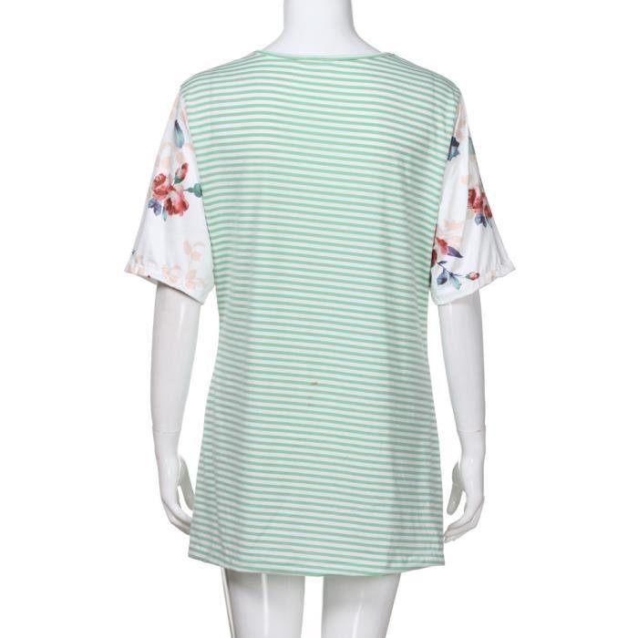 Femme Courtes Rayures T De shirt Du À Crew Poche Vert Casual Lâche Tops Manches Chemisier Cou rxWqYfrwz8