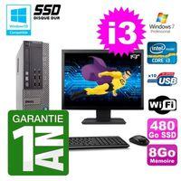 UNITÉ CENTRALE + ÉCRAN PC Dell 790 SFF Intel I3-2120 RAM 8Go Disque 480Go