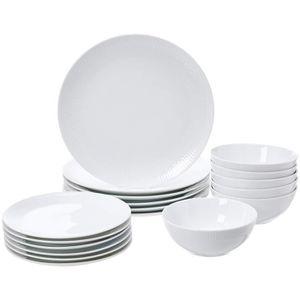 SERVICE COMPLET AmazonBasics Service de table 18 pièces - Porcelai