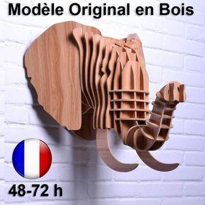 OBJET DÉCORATION MURALE  Tête d'Éléphant Trophée Chasse Bois Luxe Design A
