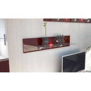 ETAGÈRE MURALE Etagère laquée  bordeaux  en bois et verre  98 cm