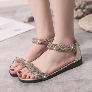 5530a18b3024a BALLERINE Femmes Mode Poisson Bouche fond plat strass Sandal