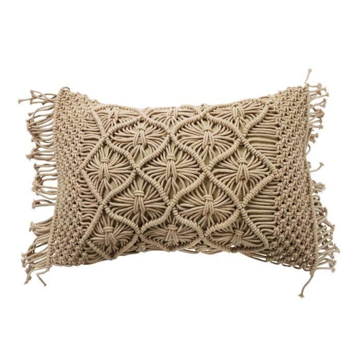 Coussin Macrame - 40 x 60 cm - Rose nude