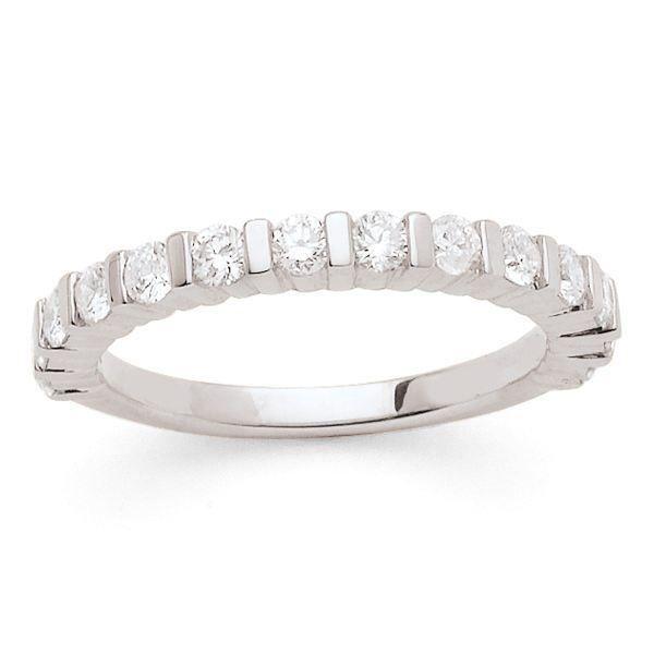 MONTE CARLO STAR - Demi-Alliance en Or Blanc 18 Carats et Diamants - Femme