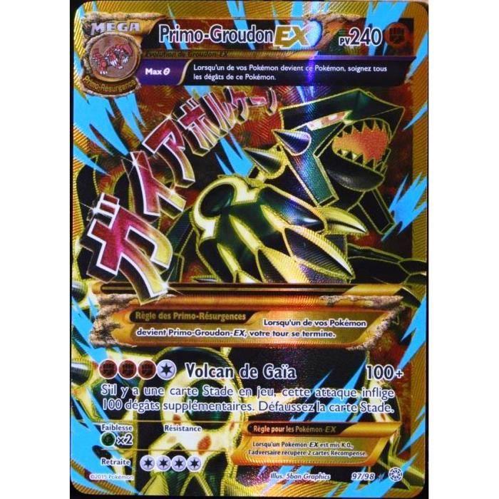Carte pok mon 97 98 primo groudon ex 240 pv ultra rare full art xy07 fr achat vente - Tout les carte pokemon ex du monde ...