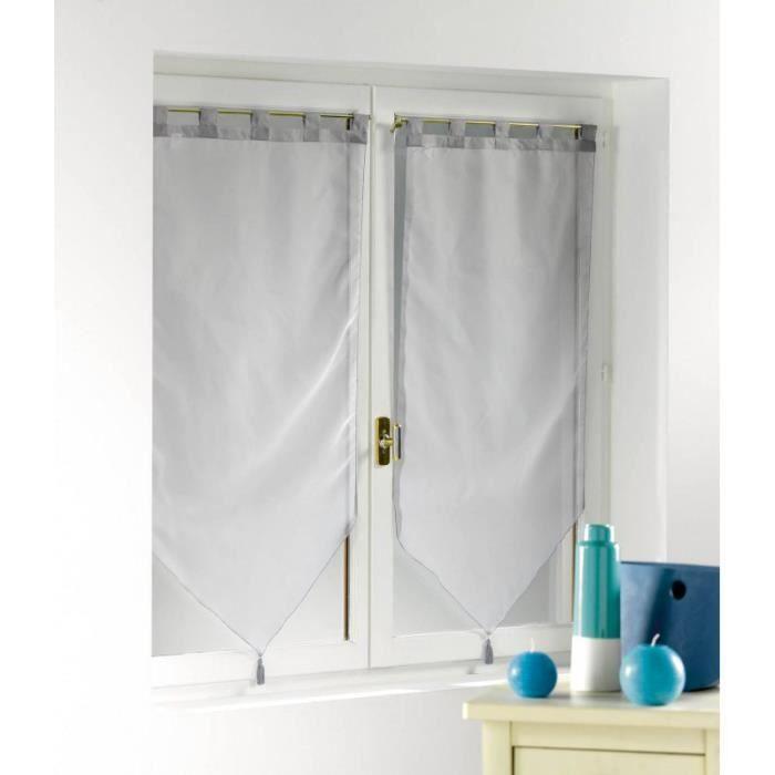 rideaux voilage 60 x 120 gris achat vente pas cher. Black Bedroom Furniture Sets. Home Design Ideas