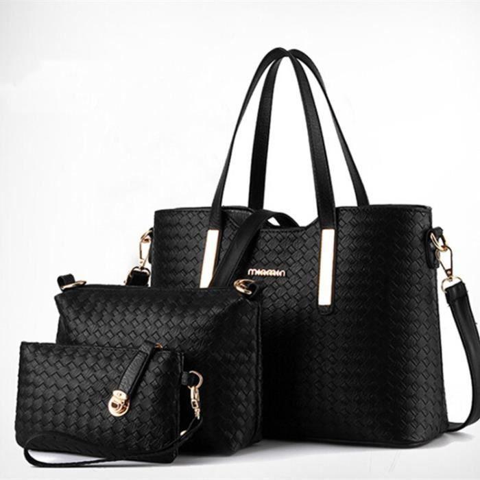 f8ff8b5e392b SWISSANT Set de sacs noirs - Sac à main + sac à bandoulière + ...
