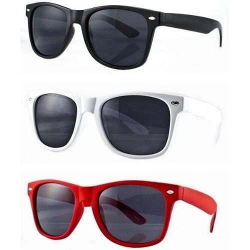 295d3d57734ed Lot de 3 paires de lunettes de soleil style Wayfarer geek retro vintage 80's  - Noir + Rouge + Blanc - Verre noir - Fashion tendance