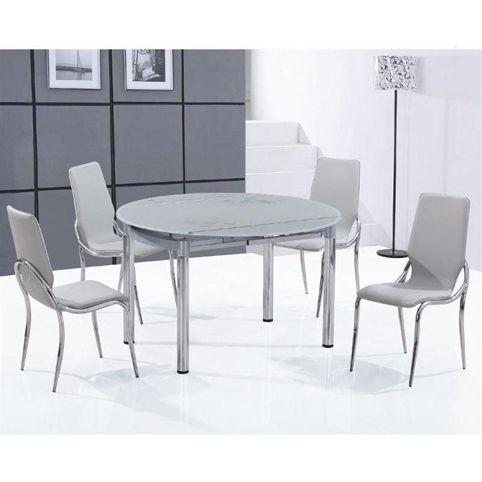 Ensemble table ronde en verre d poli 4 chaises achat for Table de cuisine salle a manger 6 chaises ella