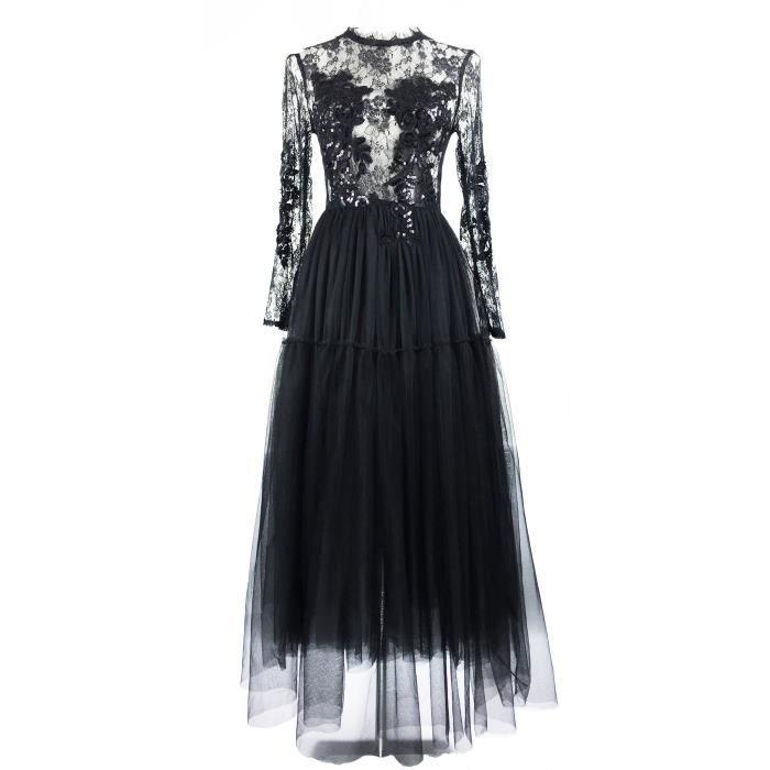 e65b5369255 RitaRicci Robe soirée en dentelle et tulle Noir - Achat   Vente robe ...