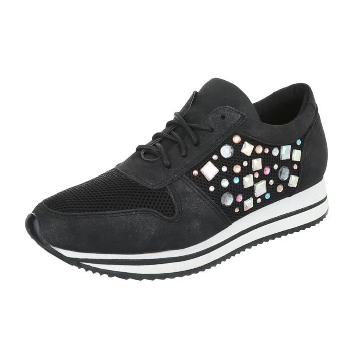 Femme chaussures loisirs chaussures Sneakers noir 41