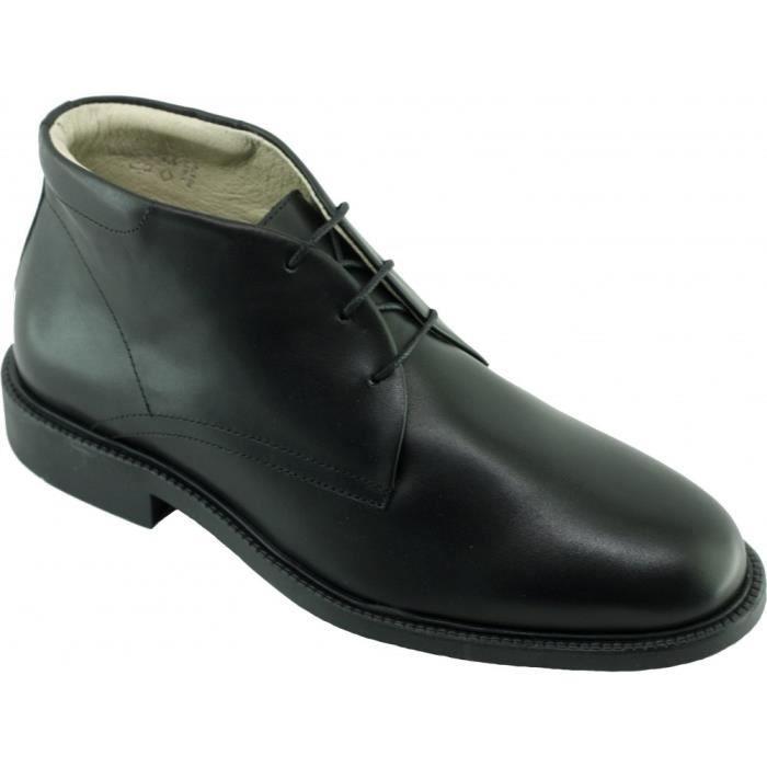 c9f5d15f9 Corte - Bottine ville confortable à lacet marque SOFT & FLEX.co by LEH  chaussure Homme cuir noir