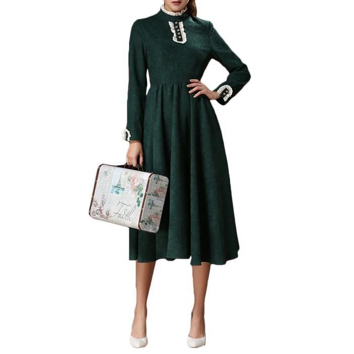 robe aline femmes manches longues cou hérissé floqué robe verte cru