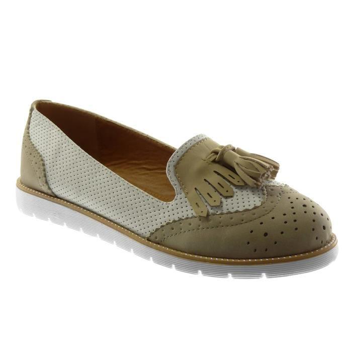 Angkorly - Chaussure Mode Mocassin slip-on semelle basket femme frange pom-pom perforée Talon plat 2.5 CM - Gris - 18-17 T 36