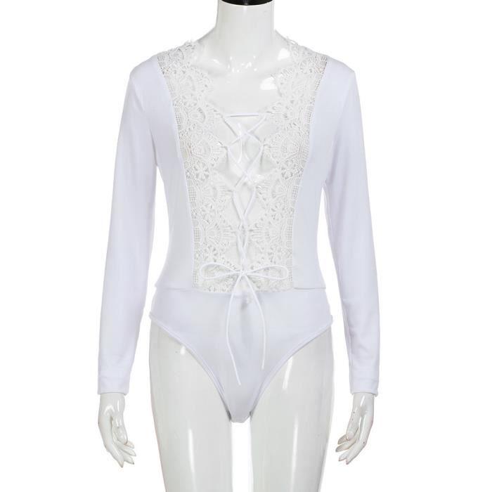 Femmes manches longues sexy dentelle bandage skinny body sous-vêtements  combinaison blanc acc962b04ea