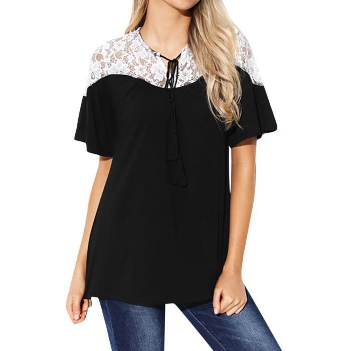 Femme Dentelle Hauts Tie manches courtes Tops Chemisier T-shirt T ... d3498c0edf8