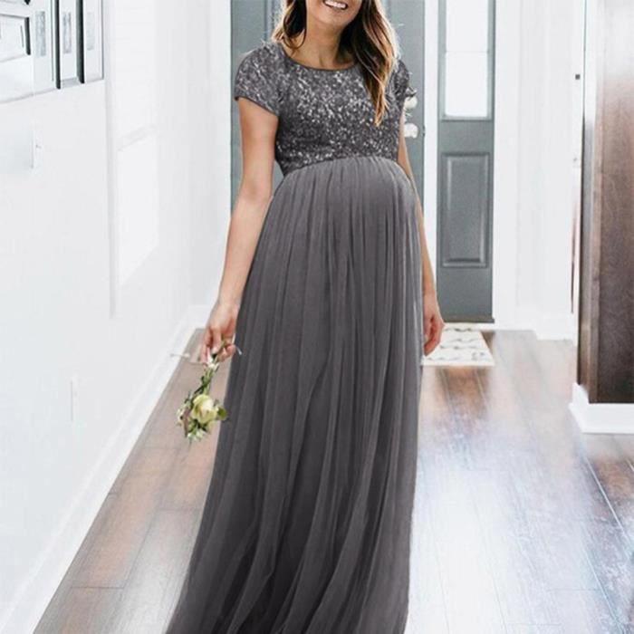 Populaire Maxi Robe Gris De Femmes Props Longue Photographie Photo Maternité Fancy vNwmn80O