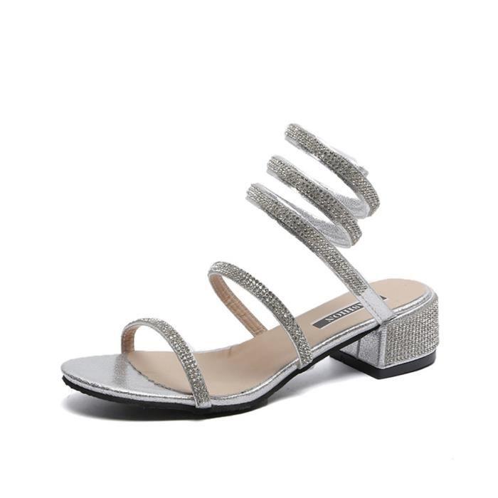 Femmes En Casual Cristal Épais D'été Toe Chaussures Peep Sexy Sandales Ladies Argent Winding TqxwTnr4Z