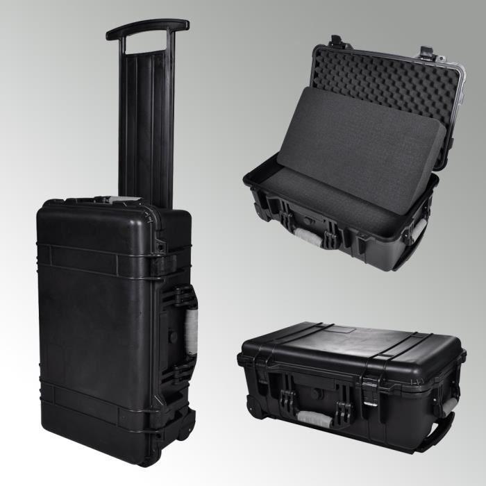 Cette valise à outil est équipée de roulettes et d une poignée ... c8b929230201