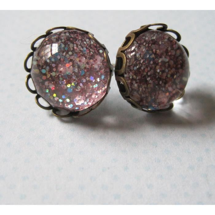 Craze Antiqued Gold-Tone Glitter verre Boucles doreilles 1/2 rond rose irisé
