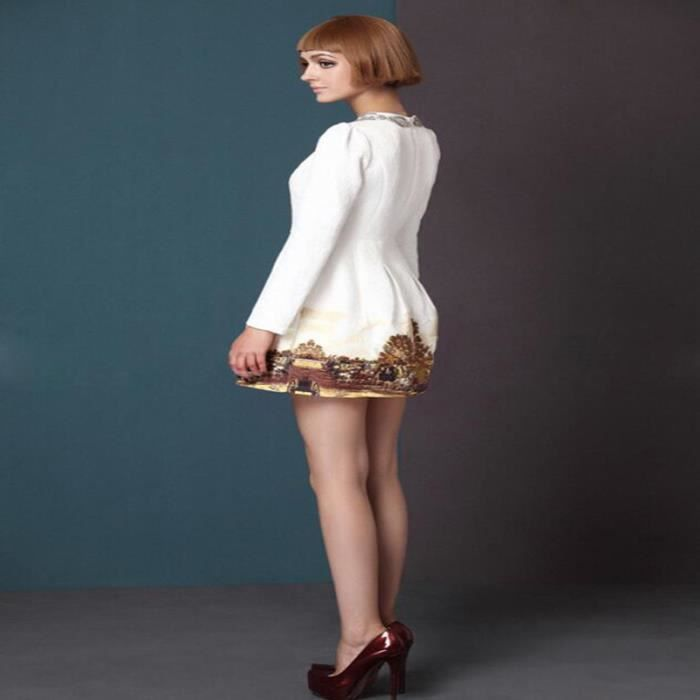 Robe Floral-print femmes élégant mode silm