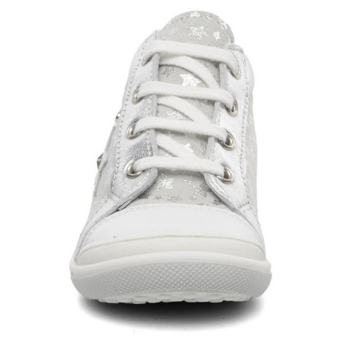 Bopy Baskets Bébé Cuir Blanc Argent Etoiles (22 - Large - blanc)