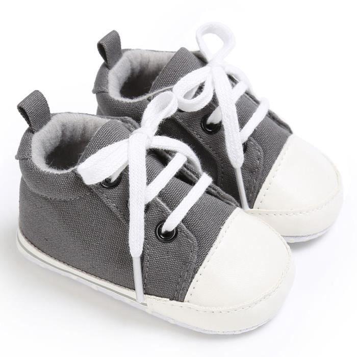 BOTTE Chaussures bébé garçon fille nouveau-né crèche chaussures à semelle souple@Gris