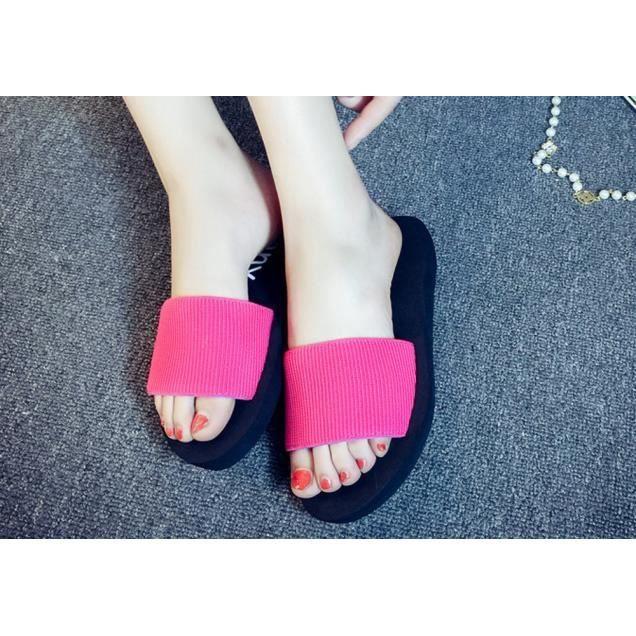 D'été Plage Mode Chaussures De Intérieur Femmes Extérieur Chausson rose Vif Tongs Sandales qw67Aw5