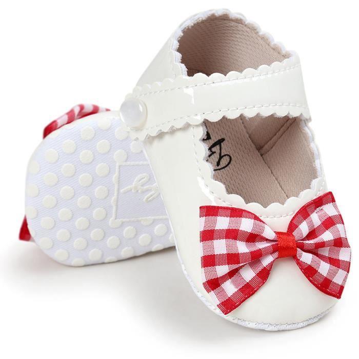 BOTTE Bébé filles bowknot crèche chaussures semelle anti-dérapant doux@RougeHM dOn2nV