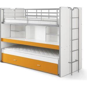 BONNY Lit mezzanine enfant avec sommier contemporain orange + bureau - l 90 x L 200 cm