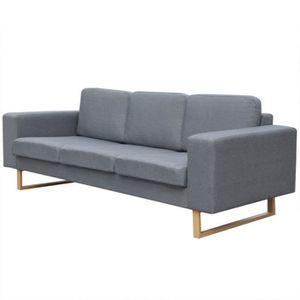 canap sofa divan vidaxl canap avec 3 places tissu gris clair