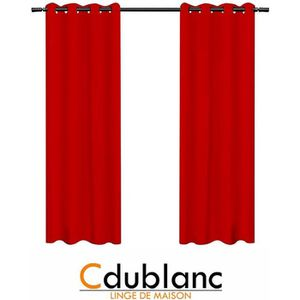 RIDEAU DUBLANC Paire de rideaux occultants 140x260cm ROUG