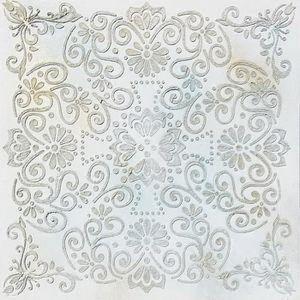 TABLEAU - TOILE Toile peinte relief Fleur - Coton - 60x60 cm - Ble